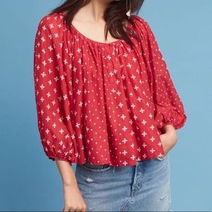 Anthropologie Red Puffy Sleeve Shirt